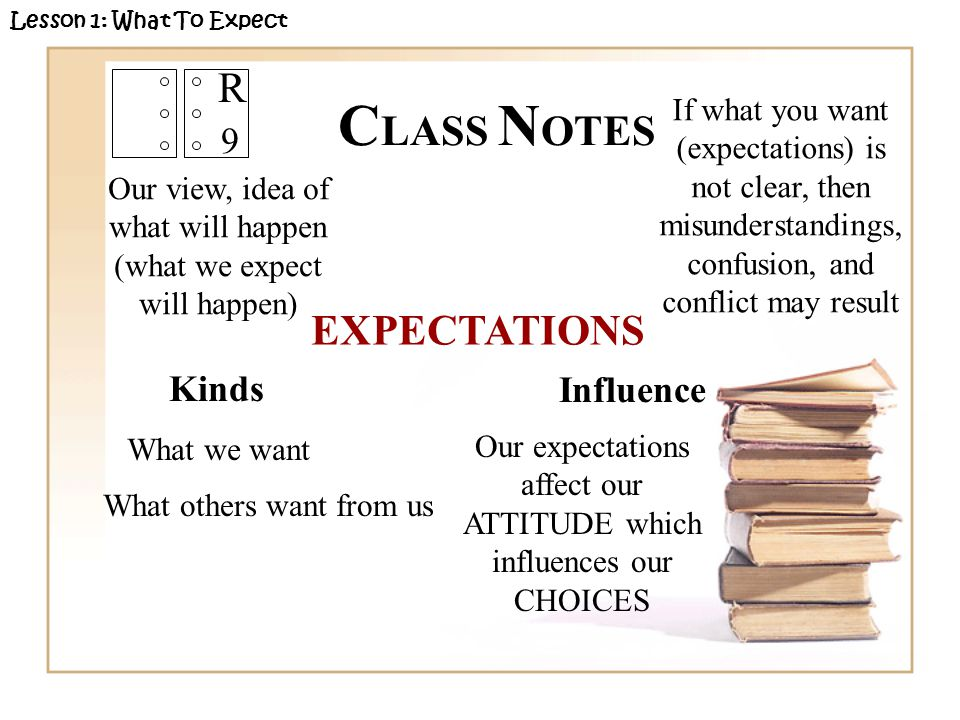 R 9 Kinds Lesson 1: What To Expect C LASS N OTES EXPECTATIONS Our view, idea of what will happen (what we expect will happen) What we want What others