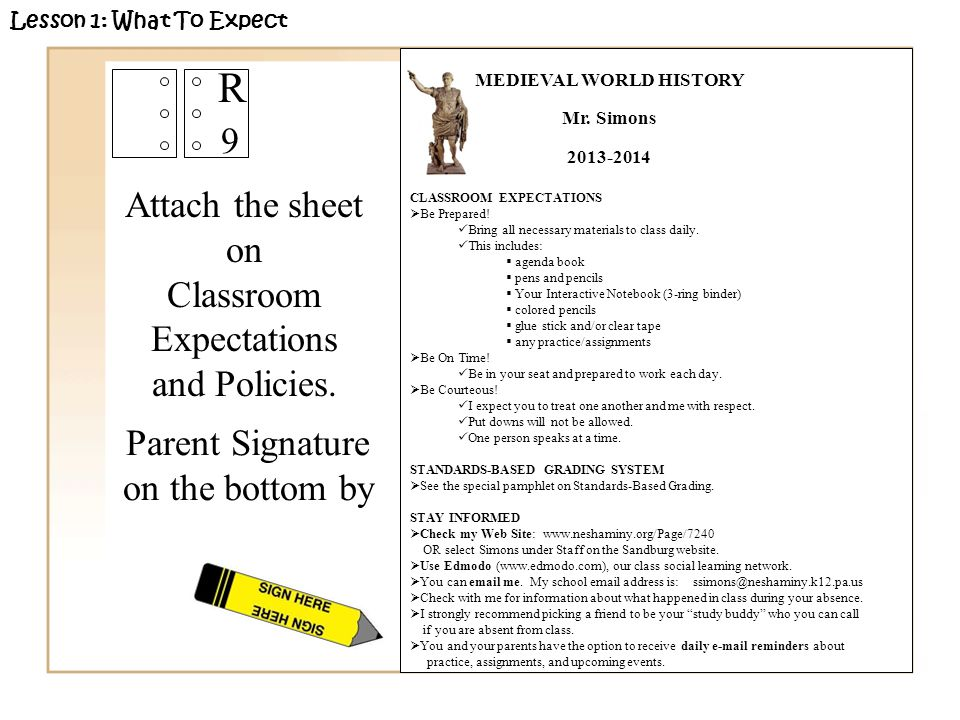 Attach the sheet on Classroom Expectations and Policies.