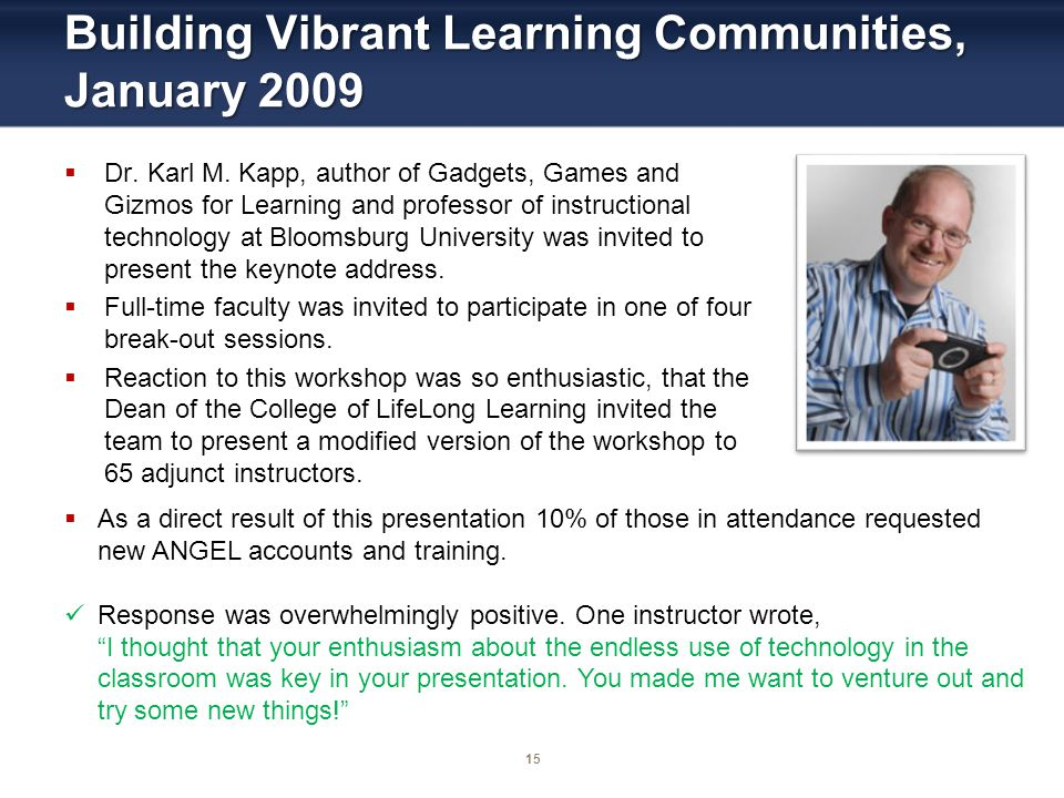 15 Building Vibrant Learning Communities, January 2009 Dr. Karl M. Kapp, author of Gadgets, Games and Gizmos for Learning and professor of instruction