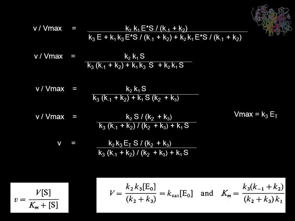 v / Vmax = k 2 k 1 E*S / (k -1 + k 2 ) k 3 E + k 1 k 3 E*S / (k -1 + k 2 ) + k 2 k 1 E*S / (k -1 + k 2 ) v / Vmax = k 2 k 1 S k 3 (k -1 + k 2 ) + k 1