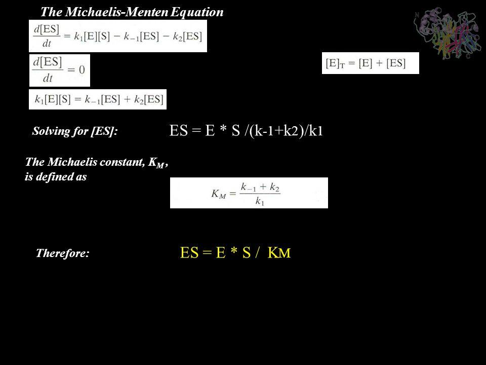 The Michaelis constant, K M, is defined as The Michaelis-Menten Equation Solving for [ES]: ES = E * S /(k -1 +k 2 )/k 1 Therefore: ES = E * S / K M