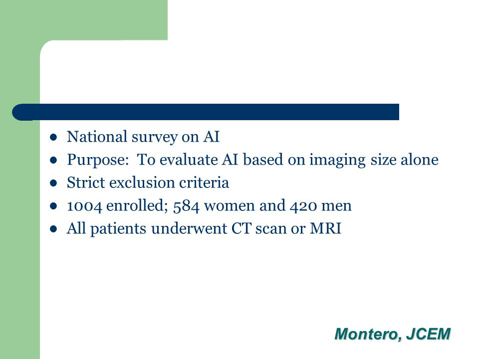 National survey on AI Purpose: To evaluate AI based on imaging size alone Strict exclusion criteria 1004 enrolled; 584 women and 420 men All patients