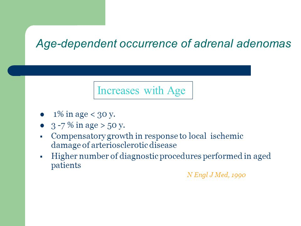 Age-dependent occurrence of adrenal adenomas 1% in age < 30 y. 3 -7 % in age > 50 y. Compensatory growth in response to local ischemic damage of arter