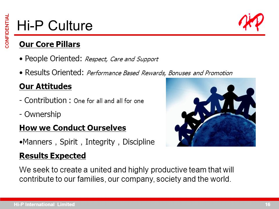 Hi-P International Limited16 CONFIDENTIAL Hi-P Culture Our Core Pillars People Oriented: Respect, Care and Support Results Oriented: Performance Based