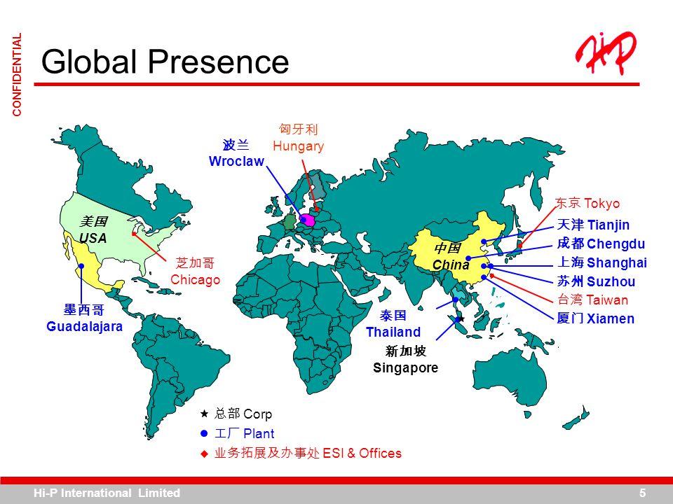 Hi-P International Limited5 CONFIDENTIAL Global Presence China USA Corp Plant ESI & Offices Tianjin Chengdu Shanghai Suzhou Taiwan Xiamen Thailand Wro