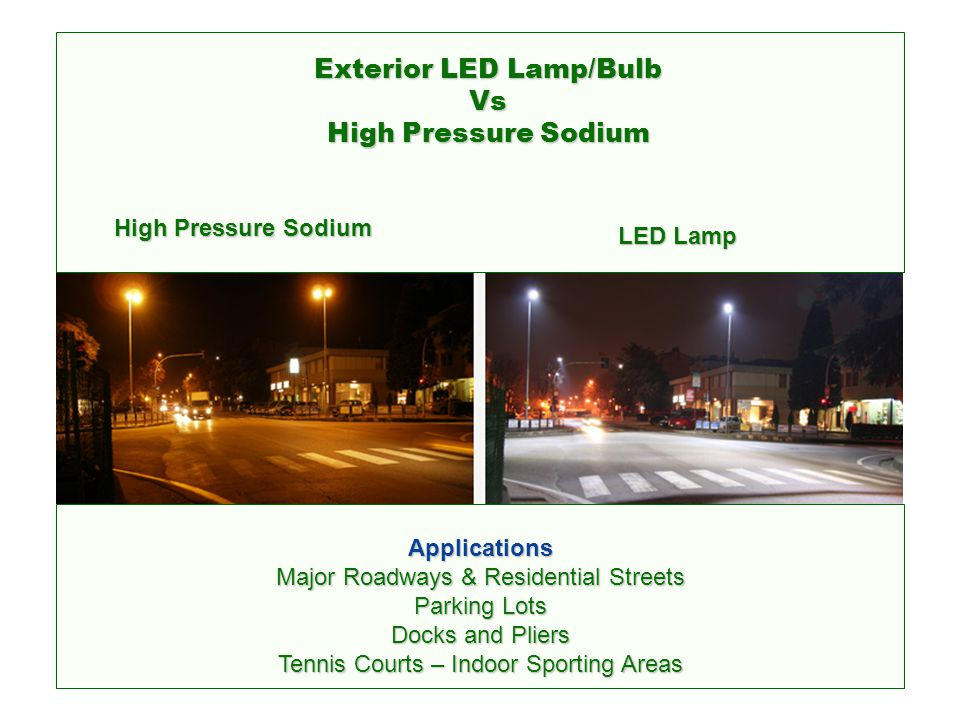 Exterior LED Lamp/Bulb Vs High Pressure Sodium/Metal Halide A – LED Street Light no glare, close to daylight B – Metal Halide Street Light – Strong glare, high color temperature with harsh radiation levels C – Sodium Street Lamp – strong glare, very low color temperature producing untrue yellow and orange radiation effects