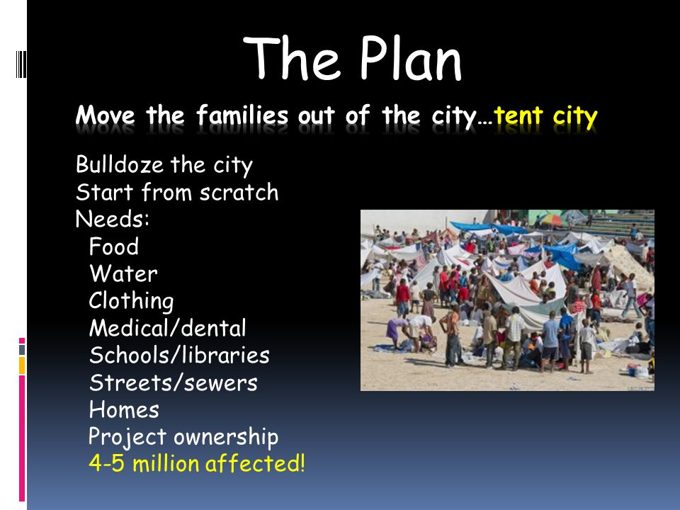 The Plan Bulldoze the city Start from scratch Needs: Food Water Clothing Medical/dental Schools/libraries Streets/sewers Homes Project ownership 4-5 million affected!