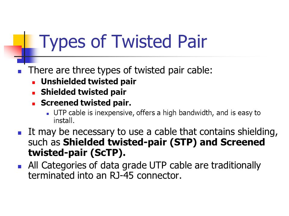 Types of Twisted Pair There are three types of twisted pair cable: Unshielded twisted pair Shielded twisted pair Screened twisted pair. UTP cable is i