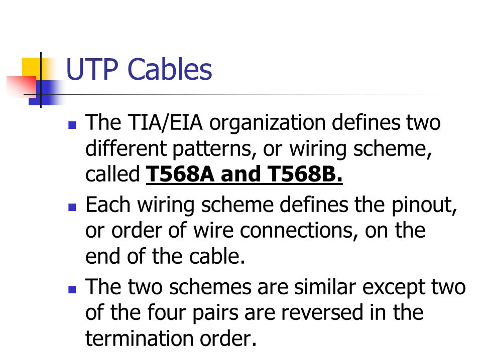UTP Cables The TIA/EIA organization defines two different patterns, or wiring scheme, called T568A and T568B. Each wiring scheme defines the pinout, o