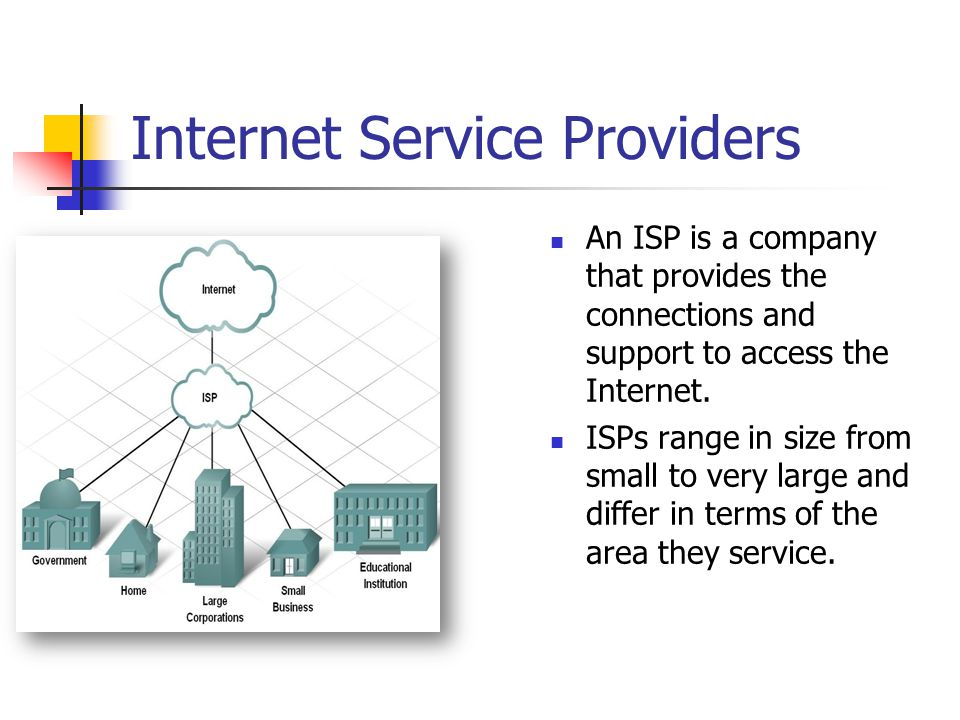 The ISP and the Internet Individual computers and local networks connect to the ISP at a Point of Presence (POP).