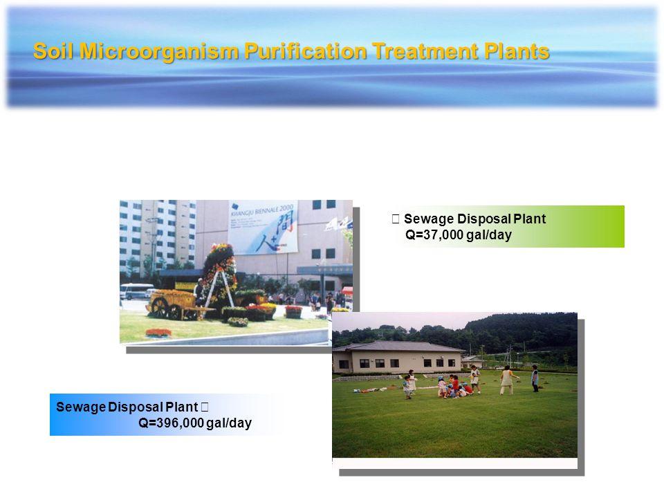 Sewage Disposal Plant Q=37,000 gal/day Sewage Disposal Plant Q=396,000 gal/day Soil Microorganism Purification Treatment Plants