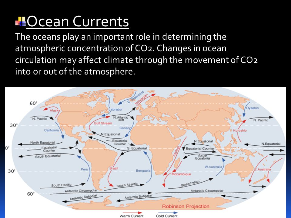 Ocean Currents The oceans play an important role in determining the atmospheric concentration of CO2.