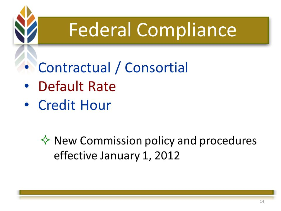 14 Federal Compliance Contractual / Consortial Default Rate Credit Hour New Commission policy and procedures effective January 1, 2012