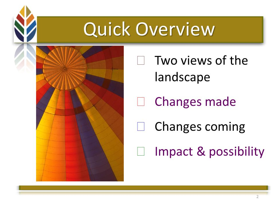 Quick Overview Two views of the landscape Changes made Changes coming Impact & possibility 2