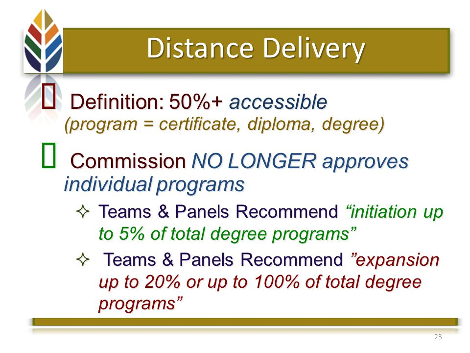 23 Definition: 50%+ accessible (program = certificate, diploma, degree) Definition: 50%+ accessible (program = certificate, diploma, degree) Commission NO LONGER approves individual programs Commission NO LONGER approves individual programs Teams & Panels Recommend initiation up to 5% of total degree programs Teams & Panels Recommend initiation up to 5% of total degree programs Teams & Panels Recommend expansion up to 20% or up to 100% of total degree programs Teams & Panels Recommend expansion up to 20% or up to 100% of total degree programs Distance Delivery