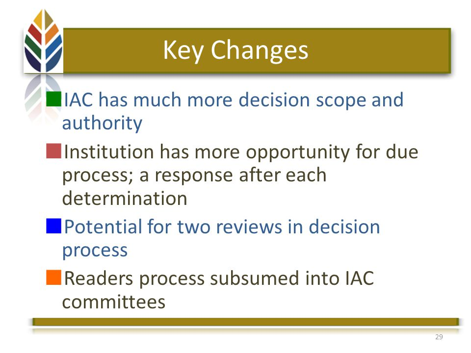 Key Changes IAC has much more decision scope and authority Institution has more opportunity for due process; a response after each determination Potential for two reviews in decision process Readers process subsumed into IAC committees 29