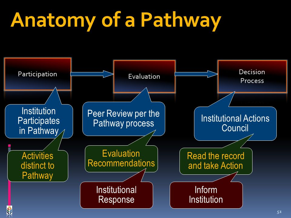 Institution Participates in Pathway Peer Review per the Pathway process Evaluation Recommendations Institutional Actions Council Read the record and take Action Institutional Response Inform Institution Activities distinct to Pathway Anatomy of a Pathway 51
