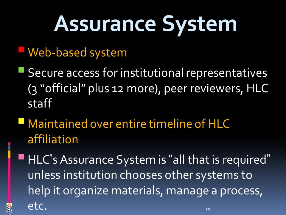 59 Assurance System Web-based system Secure access for institutional representatives (3 official plus 12 more), peer reviewers, HLC staff Maintained over entire timeline of HLC affiliation HLCs Assurance System is all that is required unless institution chooses other systems to help it organize materials, manage a process, etc.