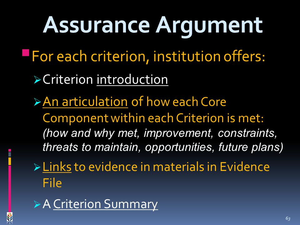 For each criterion, institution offers: Criterion introduction An articulation of how each Core Component within each Criterion is met: (how and why met, improvement, constraints, threats to maintain, opportunities, future plans) Links to evidence in materials in Evidence File A Criterion Summary Assurance Argument 63