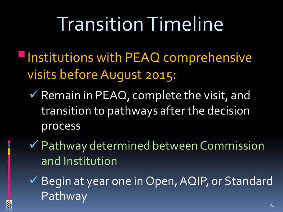 Institutions with PEAQ comprehensive visits before August 2015: Remain in PEAQ, complete the visit, and transition to pathways after the decision process Pathway determined between Commission and Institution Begin at year one in Open, AQIP, or Standard Pathway Transition Timeline 84