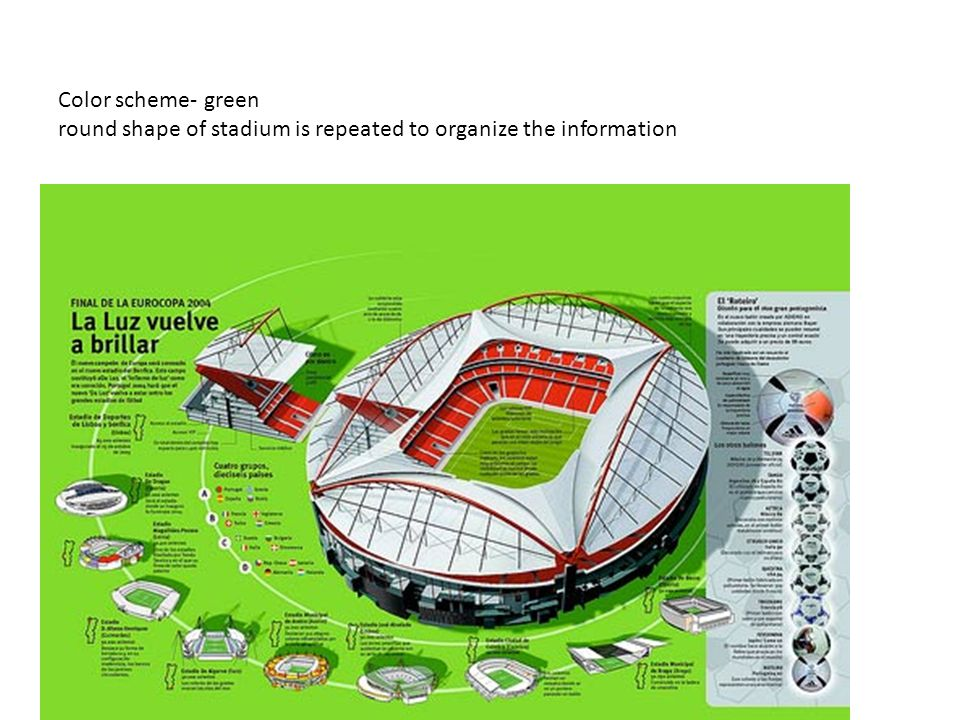 Color scheme- green round shape of stadium is repeated to organize the information