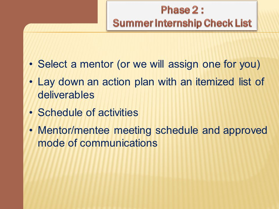 Select a mentor (or we will assign one for you) Lay down an action plan with an itemized list of deliverables Schedule of activities Mentor/mentee meeting schedule and approved mode of communications