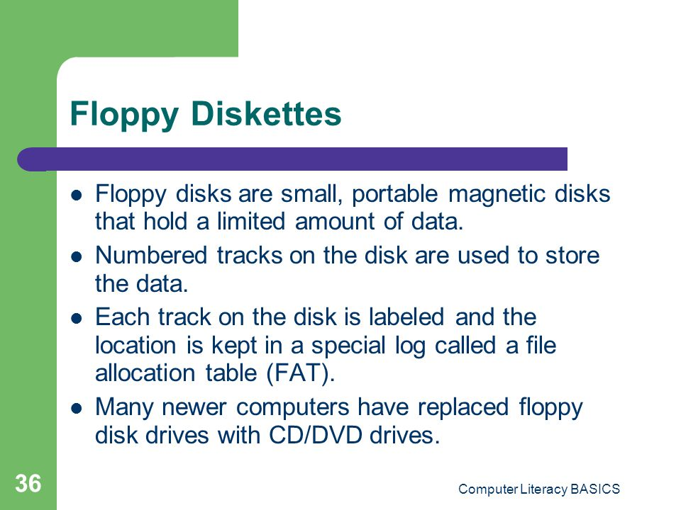 Computer Literacy BASICS 36 Floppy Diskettes Floppy disks are small, portable magnetic disks that hold a limited amount of data.