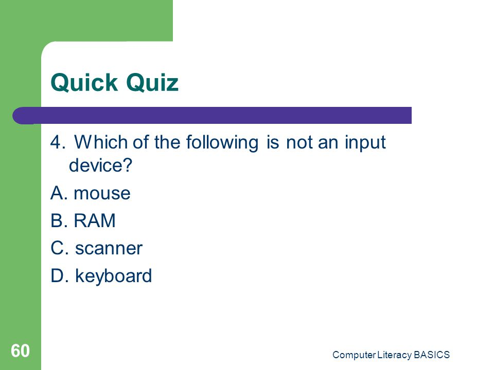 Quick Quiz 4.Which of the following is not an input device.