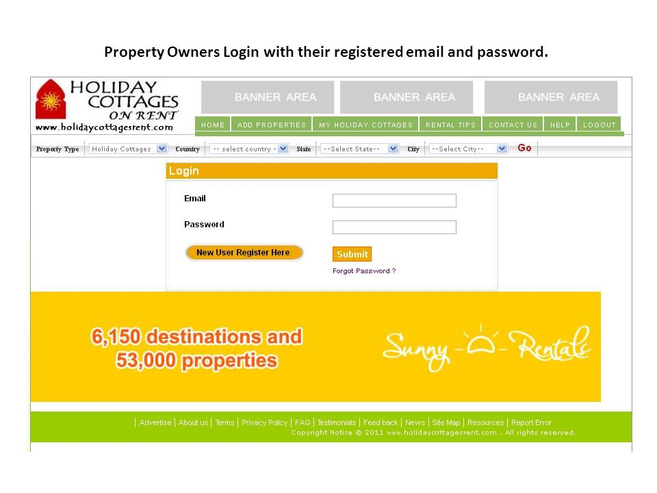 Property Owners Login with their registered email and password.