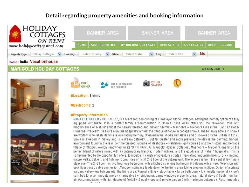 Detail regarding property amenities and booking information