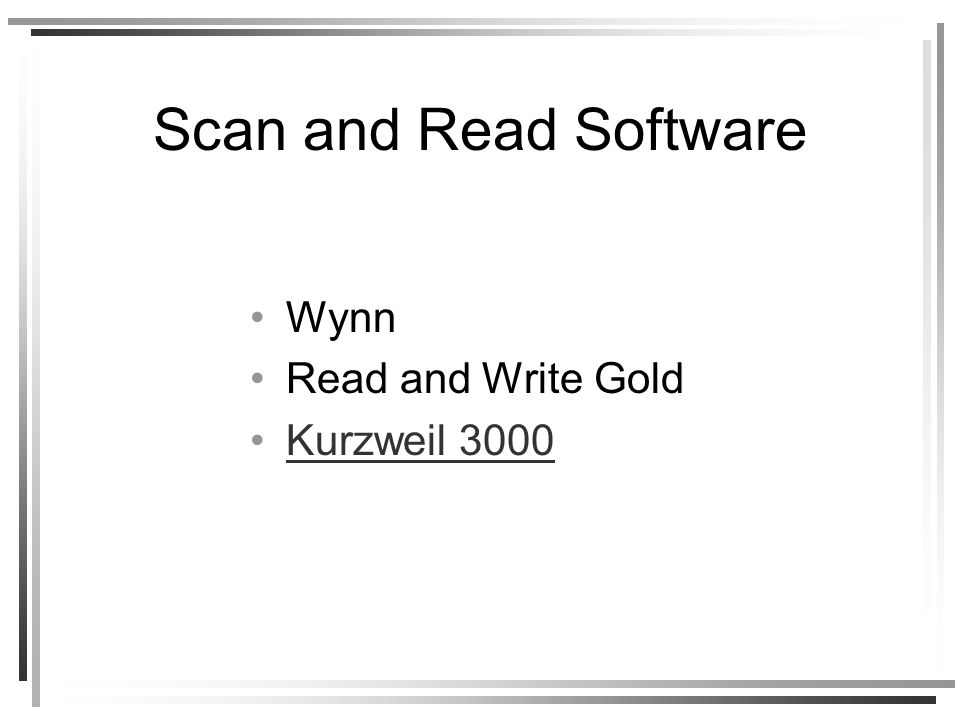 Scan and Read Software Wynn Read and Write Gold Kurzweil 3000