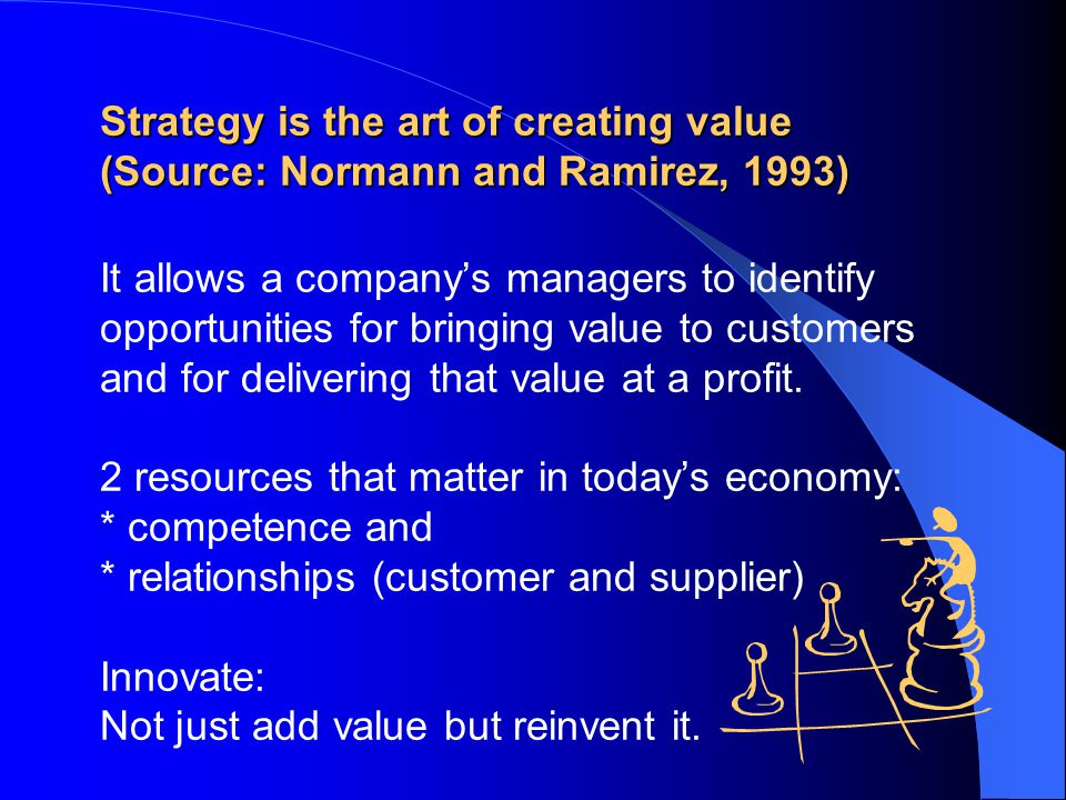 Strategy is the art of creating value (Source: Normann and Ramirez, 1993) Strategy is the art of creating value (Source: Normann and Ramirez, 1993) It