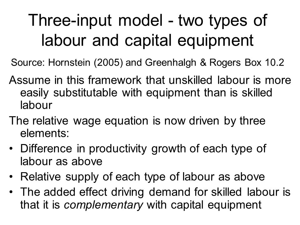 Three-input model - two types of labour and capital equipment Source: Hornstein (2005) and Greenhalgh & Rogers Box 10.2 Assume in this framework that unskilled labour is more easily substitutable with equipment than is skilled labour The relative wage equation is now driven by three elements: Difference in productivity growth of each type of labour as above Relative supply of each type of labour as above The added effect driving demand for skilled labour is that it is complementary with capital equipment