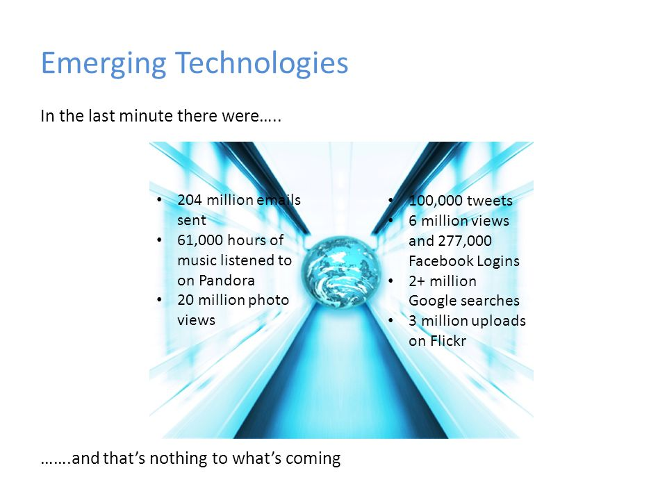Emerging Technologies In the last minute there were….. …….and thats nothing to whats coming 204 million emails sent 61,000 hours of music listened to
