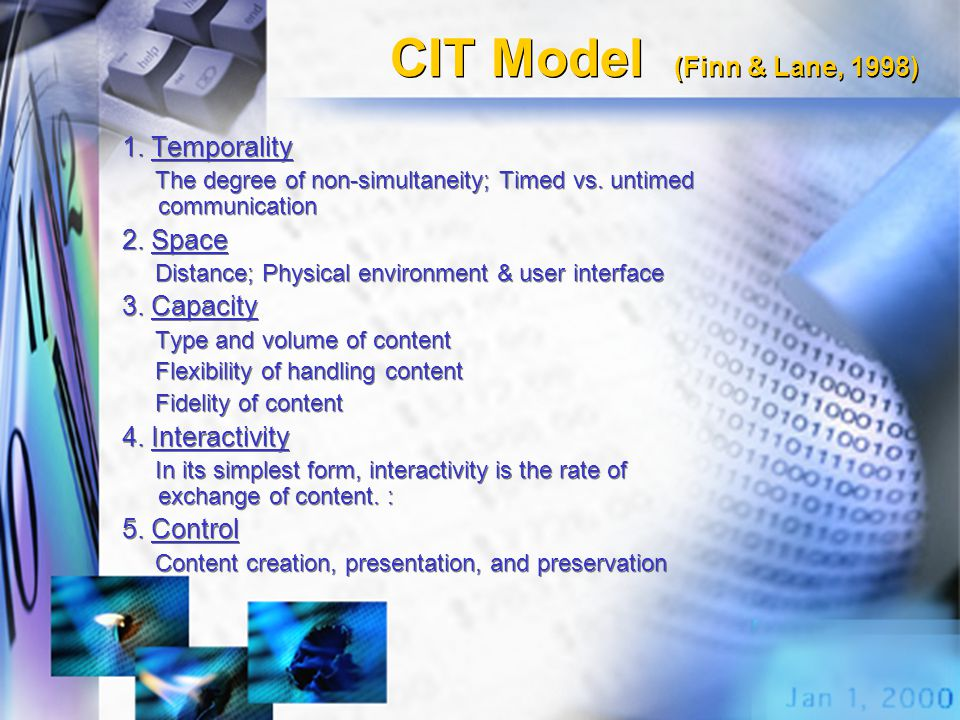 CIT Model (Finn & Lane, 1998) 1. Temporality The degree of non-simultaneity; Timed vs. untimed communication 2. Space Distance; Physical environment &