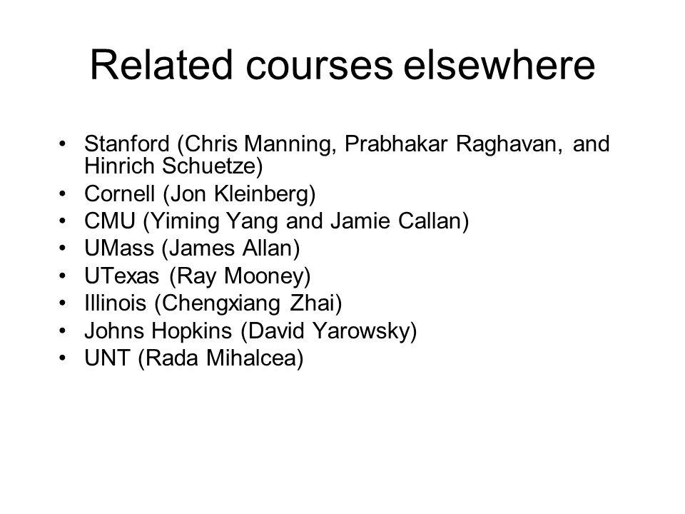 Related courses elsewhere Stanford (Chris Manning, Prabhakar Raghavan, and Hinrich Schuetze) Cornell (Jon Kleinberg) CMU (Yiming Yang and Jamie Callan