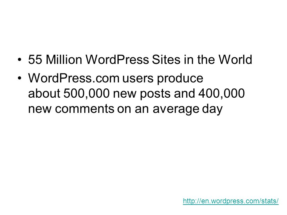 55 Million WordPress Sites in the World WordPress.com users produce about 500,000 new posts and 400,000 new comments on an average day http://en.wordp