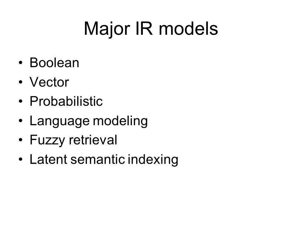 Major IR models Boolean Vector Probabilistic Language modeling Fuzzy retrieval Latent semantic indexing