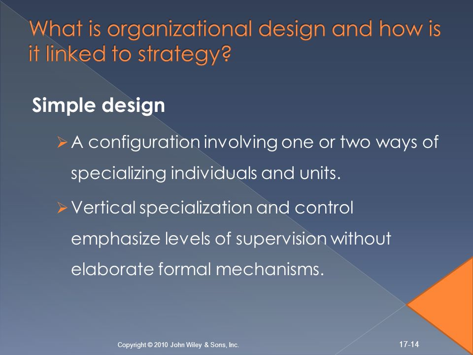 Simple design A configuration involving one or two ways of specializing individuals and units.
