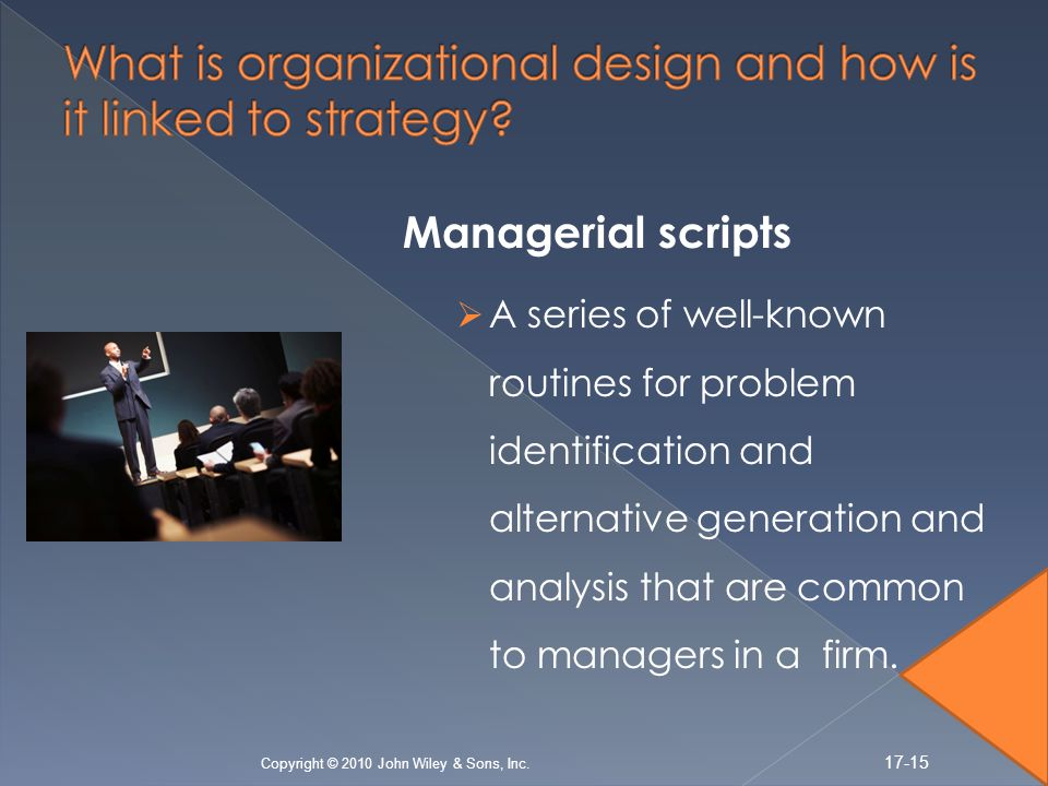 Managerial scripts A series of well-known routines for problem identification and alternative generation and analysis that are common to managers in a firm.