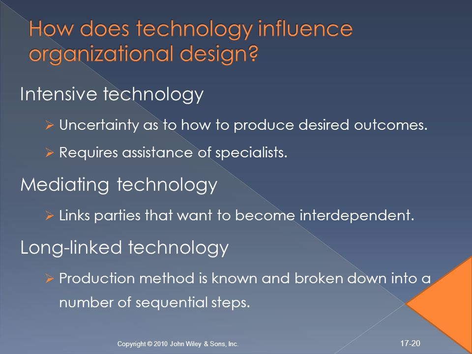 Intensive technology Uncertainty as to how to produce desired outcomes.
