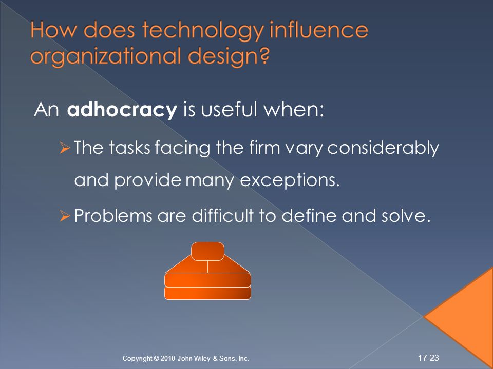 An adhocracy is useful when: The tasks facing the firm vary considerably and provide many exceptions.
