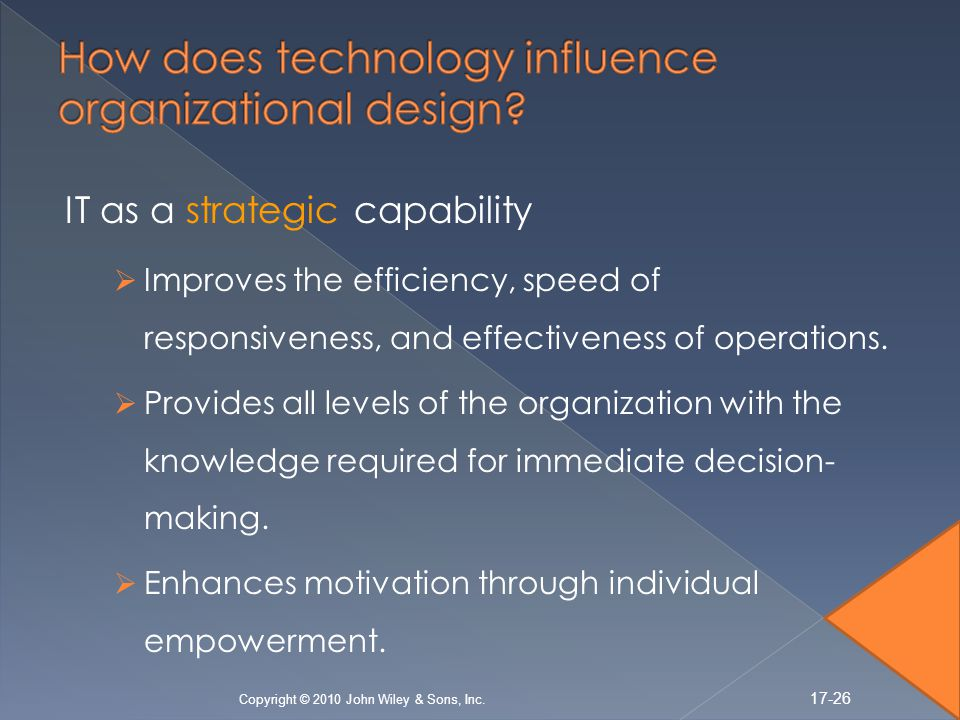 IT as a strategic capability Improves the efficiency, speed of responsiveness, and effectiveness of operations.
