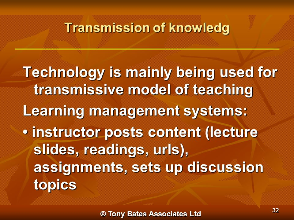 Transmission of knowledg Technology is mainly being used for transmissive model of teaching Learning management systems: instructor posts content (lec