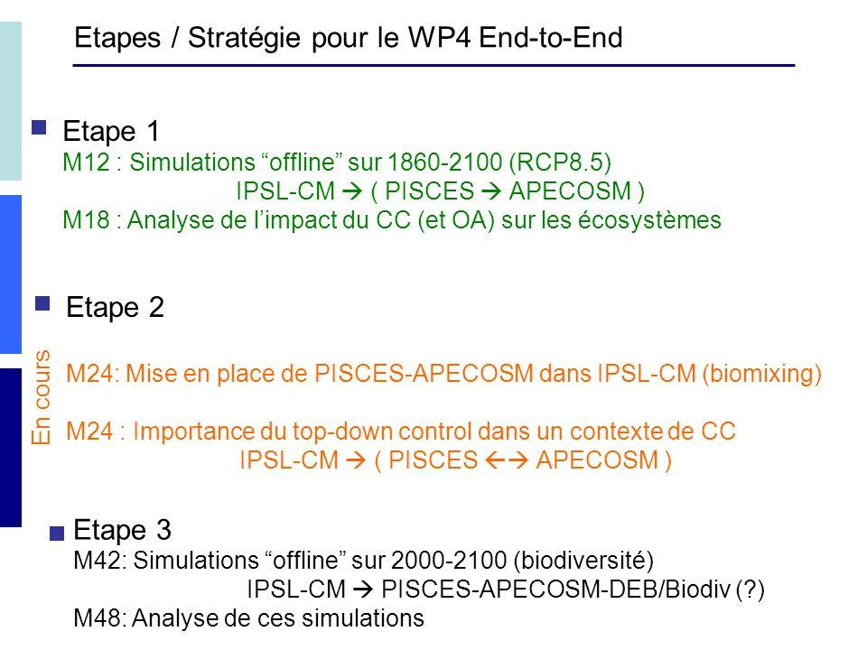 Etapes / Stratégie pour le WP4 End-to-End Etape 1 M12 : Simulations offline sur 1860-2100 (RCP8.5) IPSL-CM ( PISCES APECOSM ) M18 : Analyse de limpact du CC (et OA) sur les écosystèmes Etape 2 M24: Mise en place de PISCES-APECOSM dans IPSL-CM (biomixing) M24 : Importance du top-down control dans un contexte de CC IPSL-CM ( PISCES APECOSM ) Etape 3 M42: Simulations offline sur 2000-2100 (biodiversité) IPSL-CM PISCES-APECOSM-DEB/Biodiv ( ) M48: Analyse de ces simulations En cours
