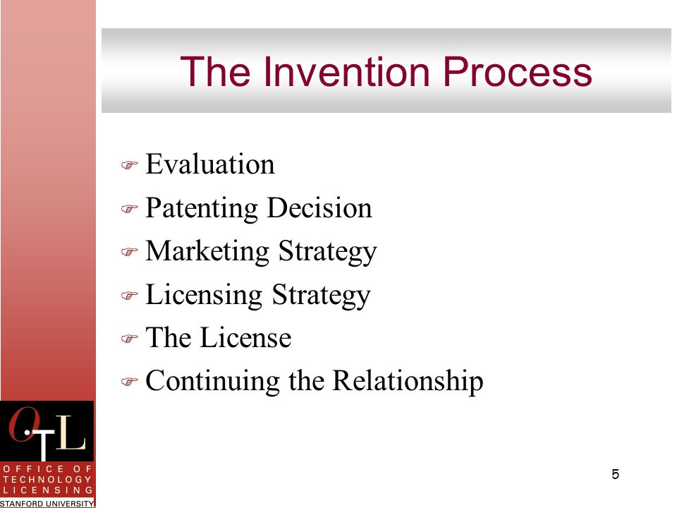 5 The Invention Process F Evaluation F Patenting Decision F Marketing Strategy F Licensing Strategy F The License F Continuing the Relationship