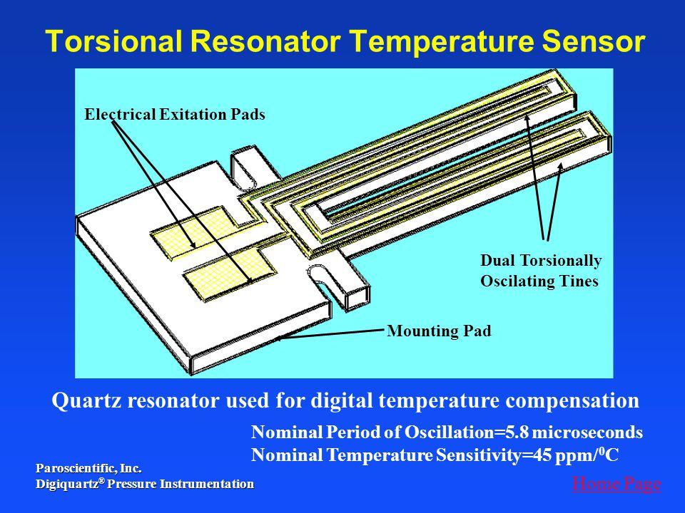 Paroscientific, Inc. Digiquartz ® Pressure Instrumentation Nominal Period of Oscillation=5.8 microseconds Nominal Temperature Sensitivity=45 ppm/ 0 C