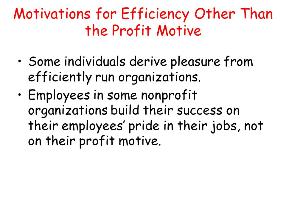 Motivations for Efficiency Other Than the Profit Motive Some individuals derive pleasure from efficiently run organizations. Employees in some nonprof
