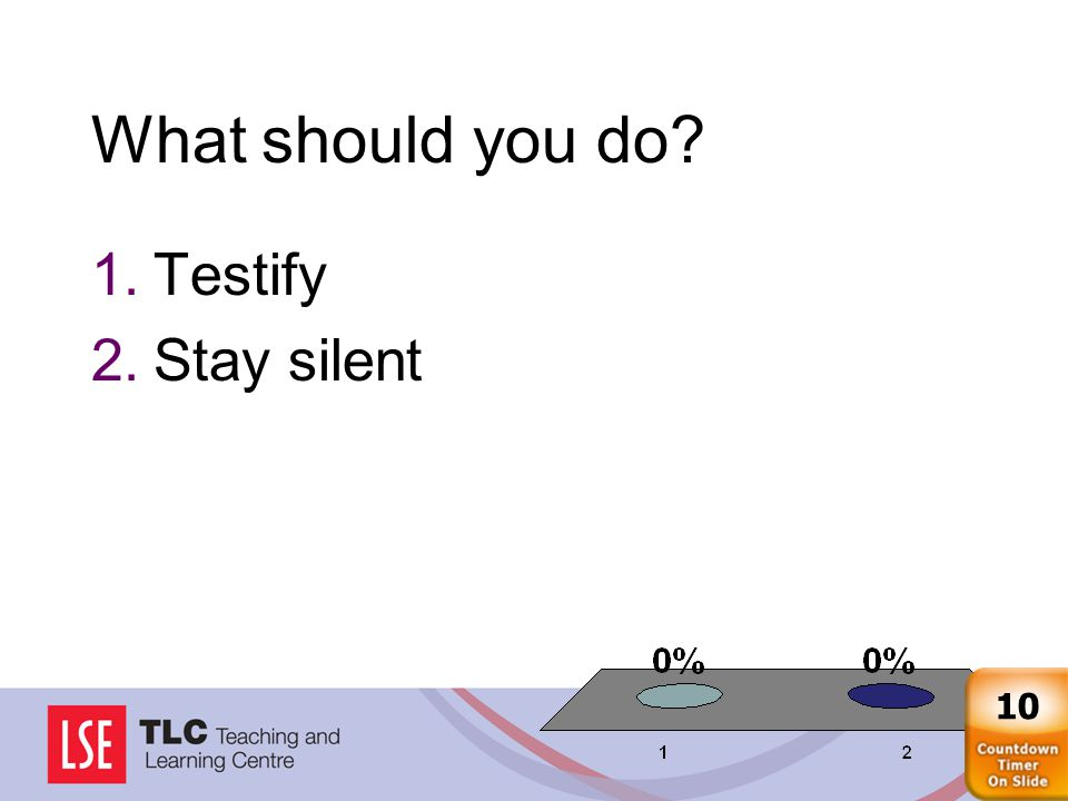 What should you do 1.Testify 2.Stay silent 10