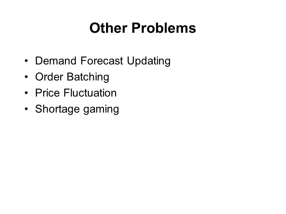 Other Problems Demand Forecast Updating Order Batching Price Fluctuation Shortage gaming